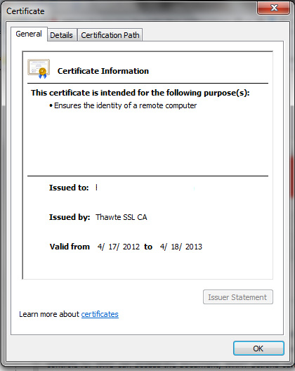 website certificate