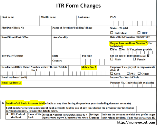 ITR form change
