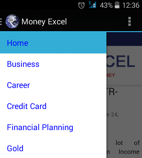 Money Excel App Menu
