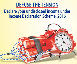 "Income Declaration Scheme - Ever since I started earning money I have started paying tax because I believe in saying ""Taxes are paid nation are made"". However, I find a majority of people in India are dishonest when it comes to paying taxes. It is surprising to note that in India only 1% of people pay income tax. Black money and undisclosed income are quite common in India. In order to increase taxpayer base and in order to increase revenue Income Tax department has started Income Declaration scheme. What is Income Declaration Scheme 2016? Income Declaration Scheme 2016 is a one-time opportunity to all people, who have not declared correct income in the past to come forward and declare such undisclosed income. If you failed to furnish return or failed/forgot to mention income detail in your return you can declare the same by IDS scheme. Silent features of Income Declaration Scheme 2016 is given below. • IDS is a scheme to declare undisclosed income in form of asset or otherwise pertaining to FY 2015-16 or earlier years. • The fair market value of such asset as on 1st June, 2016 computed for declaration. • Taxes, surcharge and penalty are applicable to the undisclosed income on the declaration. • Total tax on undisclosed income will be 30% and a surcharge will be 25%. So, total payment of 45% to be done on such undisclosed income. • This scheme is open for declaration from 1st June, 2016 to 30th Sept, 2016. • Tax, Surcharge and penalty to be paid by 30th Nov,2016 • No scrutiny/inquiry shall be done under Income Tax/wealth tax with respect to such declaration. • Name and detail of person shall be kept confidential and shall not be declared. How to declare Income under Income Declaration Scheme 2016? There are two modes of declaring income under Income Declaration scheme 2016 (1) Offline (2) Online Offline mode of declaration - Declaration of income using offline mode is very easy. Follow the steps given below for offline income declaration. Step -1 Download and fill Form 1 for the declaration. Step -2 Deposit duly filled Form 1 to the jurisdiction Principal Commissioner. Online mode of declaration - In order to declare income under online mode follow the steps given below. Step -1 Visit Income Tax e-Filing portal. Under ""Downloads"" section click on ""Forms (Other than ITR)"". Step -2 Download Form 1 (IDS) utility. Step -3 Open ITD Filing Form 1 utility and click on Form 1 Tab. Step -4 Complete the activity of filling Form 1. Once you are done press on Generate XML button. Step -5 After Checking validation error. The utility will generate valid XML file. Step -6 Next step is to upload this XML file and validate it using EVC or digital signature. Step -7 Login to Income Tax e-filing website and go to e-File > Upload Form for Income Disclosure - Form 1 (Income Declaration Scheme 2016). Step -8 Upload XML file and attach valuation report if any. Verify Form1 using a digital signature. EVC option is yet not available for Form1 Verification. Step -9 Once Form1 is uploaded successfully following success message will appear. Should you declare your undisclosed income under IDS 2016? Paying tax honestly is your duty. If you have not paid your tax honestly it is recommended that you file Income Declaration Form 2016 and use this opportunity to become the law-abiding taxpayer. This scheme can save you from scrutiny or income tax enquiry for the declared income. It will also immune you from Benami Transaction Act, 1988 subject to certain conditions. PM Narendra Modi has also urged tax payers to declare undisclosed income before 30th Sept, 2016 in Man ki Baat session. Important points about IDS 2016 - • IDS declaration can be filed by Individual, HUF, company, Firm or Any other associate. • A person cannot make a declaration under the scheme if his undisclosed income has been acquired from money earned through corruption. • It is not mandatory to file valuation report of undisclosed income. • Validation of Form1 through EVC is not available yet, however it is said that this facility will be available soon. • The person will not eligible for the scheme for those assessment years for which a notice is issued to him/her. Over to you - I hope you have clearly understood Income Declaration Scheme 2016. So, bring your undisclosed income under tax umbrella. Your undisclosed income is like Bomb-Defuse the tension and declare your undisclosed income under Income Declaration scheme"