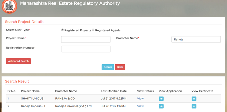 search rera website