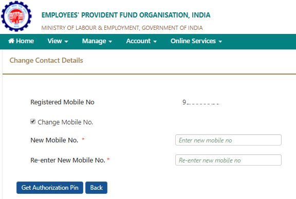 change mobile number epf