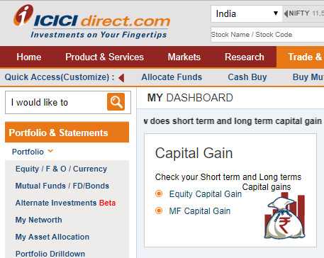 capital gains statement icicidirect