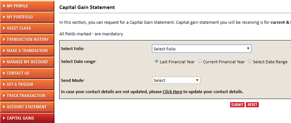 capital gains statement mutual funds