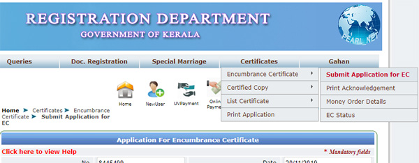 submit EC certificate application