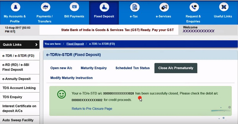 close fixed deposit online sbi