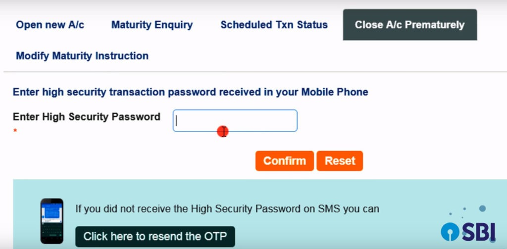 password closure sbi fd