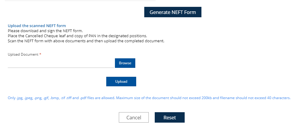 upload NEFT Form