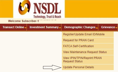 update personal detail NPS CRA NSDL